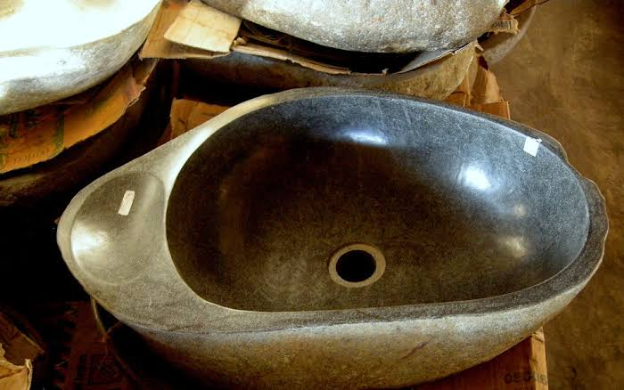 stone sink bathroom